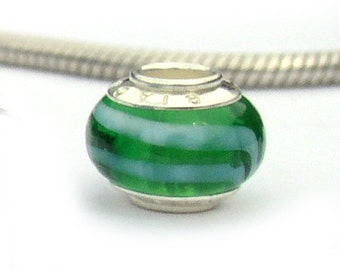 Green Murano Glass European Bead Sterling Silver