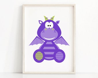 Purple Nursery Print, Kids Wall Art Print, Kids Room Decor, Boys Wall Art, Baby Boy Nursery Print, Dragon Kids Print, Printable Nursery Art