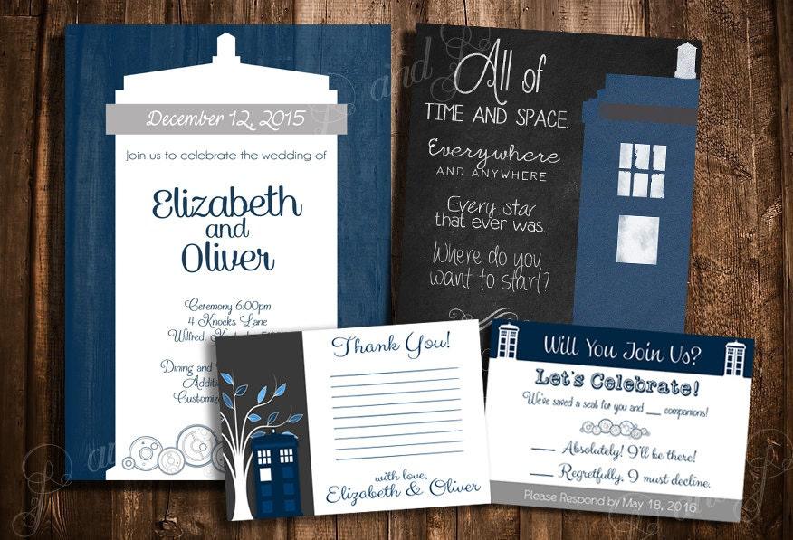 Doctor Who TARDIS Wedding Invitation Set Personalized