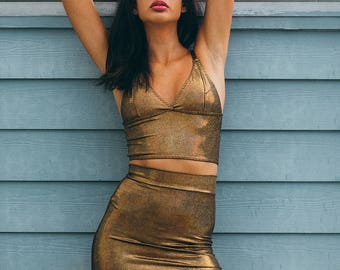 Holographic Twin Set of Bralette and Tube Skirt, Iridescent Triangle Top, Pencil Skirt, Bodycon - Choose Color
