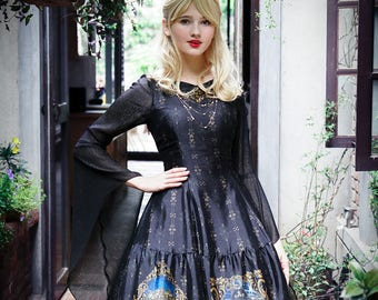 Gothic Fashion Printed Midi Dress Medieval Retro Fairy Ethereal Long Sleeve Summer Dress Prom Dress