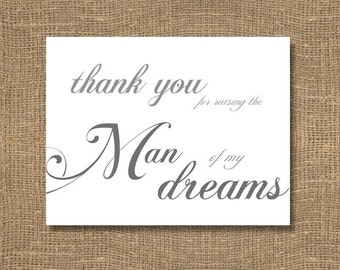 Thank You For Raising The Man of My Dreams / Wedding Day Note / Bridal Notecard  / Wedding Note / Brides Wedding Sentiment Card / Tradition