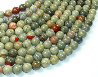 Silver Leaf Jasper Beads, 8mm Round Beads, 16 Inch, Full strand, Approx 48 beads, Hole 1 mm, A quality (406054006)