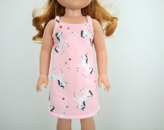"""14in Doll Nightgown - 14.5"""" Unicorn AG Wellie Pajamas - 14 inch Sleepwear - Hearts for Girls - H4H Doll - Wish - Wisher - Summer Pajamas"""