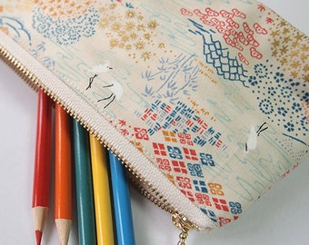 Cranes Zipper Pouch / Pencil Case Made with japanese Fabric