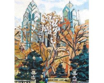 Philadelphia Painting. Philadelphia Print. Philadelphia Art. Rittenhouse Square, Philly Art Print Cityscape painting Gwen Meyerson