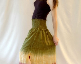 Tie Dye Skirt in Moss green, gold and brown