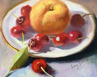 Peach and Cherries, Still Life Oil Painting, 15 x 15 cm, Summer Fruit, Small Size Original Oil Painting