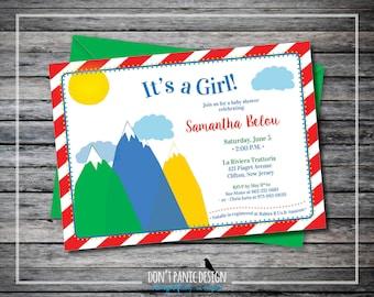 Printable Baby Girl Shower Invitation - Fun Mountain Baby Shower - Gender Neutral Baby Shower - Baby Boy Shower Invitation - Custom Color
