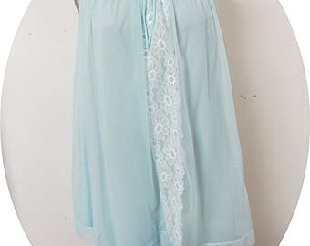 Vintage Blue Nylon Chiffon  Nightgown Miss Elaine #123