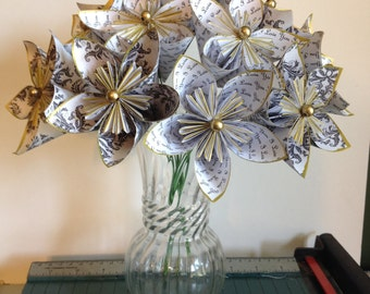 Dozen Paper Flowers - I Love You - Kusudama Origami, wedding, anniversary, i'm sorry, paper flower gift