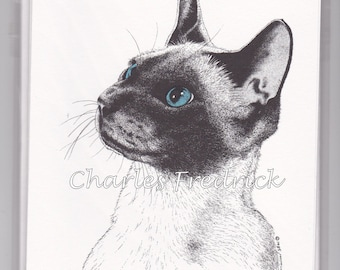 Siamese Cat Note Cards With Blue Eyes