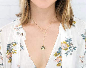Gemstone Necklace, Moonstone Necklace, Lariat Necklace, Dainty Y Necklace, Lariat Choker, Y Drop Necklace, in Gold Fill & Sterling Silver