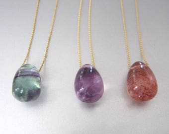 Solitaire Stone Jelly Bean Choose Your Stone Choose Your Chain Solid 14k Gold Necklace Batch 2