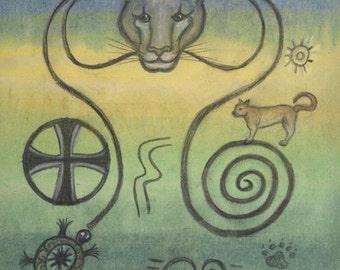 Panther Spirit Petroglyph Portrait - Leadership strength and grace - by shamanic artist healer  Azurae Windwalker
