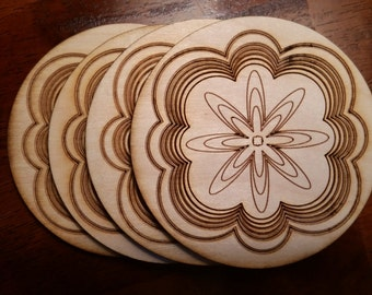 Wood Laser Cut Engraved Etched Coasters - Etched Floral - Set of 4 - Hostess Housewarming Wedding Gift