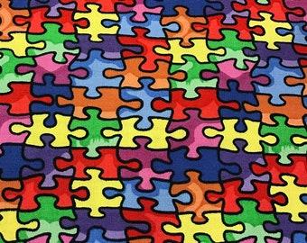 Autism awareness puzzle pieces  window curtain valance