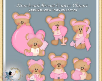 Teddy Bear Clipart, Knock Out Breast Cancer, Marshmallow and Honey