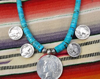 Turquoise heishi and old silver dollar coin southwestern style necklace
