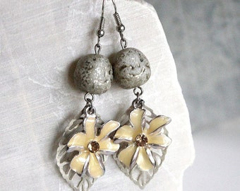 Brass leaves and yellow flower earrings