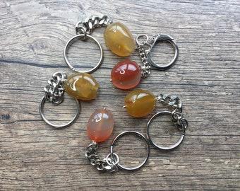 Carnelian gemstone keyring