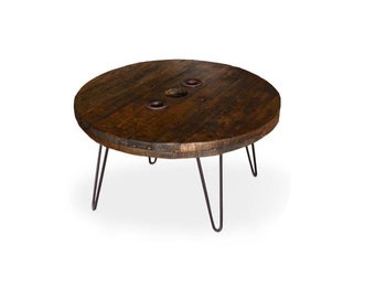 Cable Drum Reel Top Reclaimed Round Coffee Table with Dark Grey Raw Steel Hairpin Legs