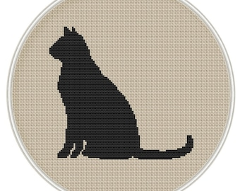 Black cat cross stitch pattern, Instant Download, Free shipping, Cross-Stitch PDF, MCS020
