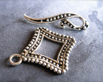 Dotted Square Solid Sterling Silver Toggle clasp
