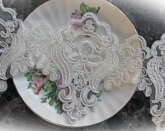 Reneabouquets Trim- 4.75 Inch Wide Wedding Day Lace, Embroidery,  Venice , Bridal, Costume Design, Lace Applique, Crafting