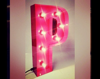 50cm Metal Marquee Letter Light - Raspberry Red Gloss - Handmade in the UK