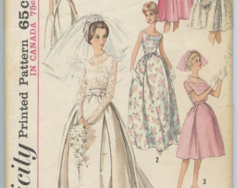 1960's Simplicity 5343 Sleeveless Wedding Dress with Detachable Train Bridesmaid's Dress Crop Jacket Bust 31