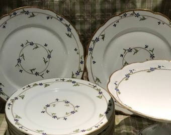 Antique French Dinnerware Set With Cake Stand Limoges Marie Antoinette Blue Cornflower Circa 1905 Sevres Cottage Style China Dishes