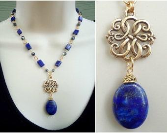 Blue Lapis Lazuli Stone Pendant Necklace.Gold.Silver.Navy Blue.Statement.Beadwork.Bridal.Beaded Necklace.Chunky.Holiday.Gift.Handmade.
