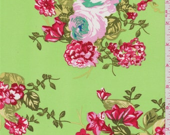 Lime Green Floral Triple Georgette, Fabric By The Yard