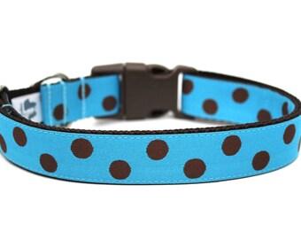 """Turquoise and Brown Polka Dot Dog Collar 1"""" Blue Dog Collar"""