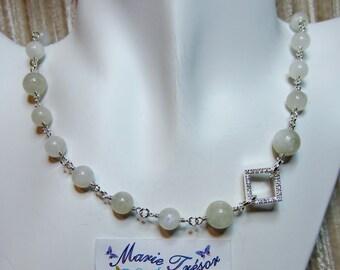 Rainbow Moonstone & zirconia necklace