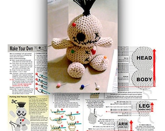 Voodoo Doll Crochet Pattern for Beginners and Novices (Amigurumi Doll Pattern) -- Make Your Own Rooty!