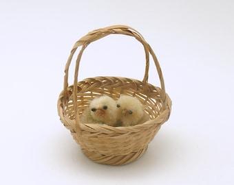Vintage Easter Decoration Chicks in Basket