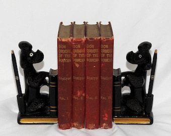 Vintage Glazed Ceramic Poodle Bookends With Pen Holders