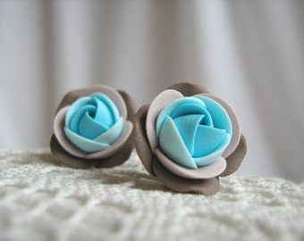 Polymer clay earrings - Shades of turquoise and brown rose flower stud earrings