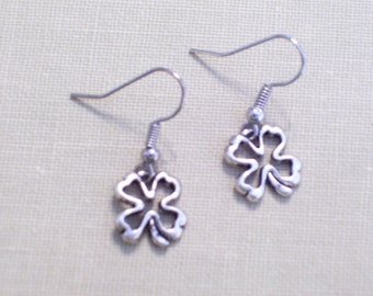 Antiqued Silver Shamrock Earrings, Little Silver Four Leaf Clovers, Lucky Charm
