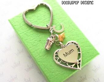 Personalised mum keyring - Birthday gift for mum - Mother's Day gift - Coffee lover gift - Coffee keyring - Mum keychain - UK seller