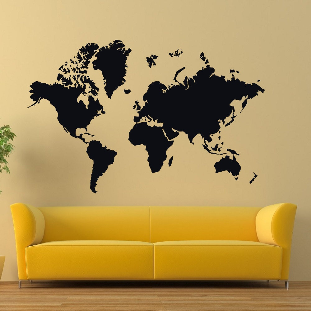 Vinyl Wall Decals World Map Country Quotes Decal Sticker Home