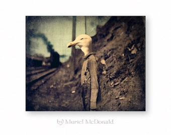 "Bird Print, Seagull Wall Art, Anthropomorphic, Photography Collage, Home Wall Decor, Rustic, Unique Gift, (3 Sizes) ""Waiting For The Train"""