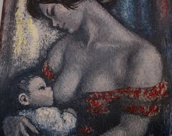 Mother Love, 1960s Enhanced Print, 1960s Art, French Artist, Contemporary French Art,  Woman Art Print, Vintage Art, Wall Art, French 1960s
