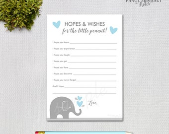 Elephant Baby Shower Hopes and Wishes Cards / Blue Hearts and Elephants / Instant Download / PRINTABLE  / #50405