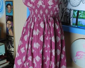 sun dress, pink, flare, flowy, artsy, cotton, empire waist, boho dress, leaf, vintage, summer dress, spring dress, tank dress, sleeveless