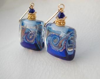 Blue Glass Earrings Venetian Murano Glass