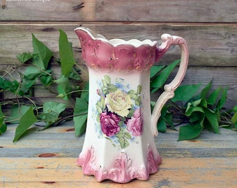 FREE SHIPPING WORLDWIDE. Antique Victorian Edwardian Era Rose Pattern Earthenware Water Jug Retro Home Decor Cottage Chic Collectible