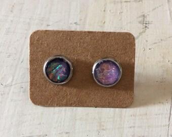 8mm Lavender Fire Opal Earrings